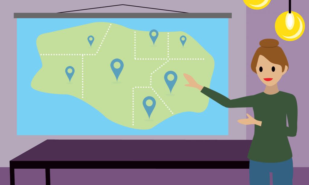 cartoon map of franchise territories